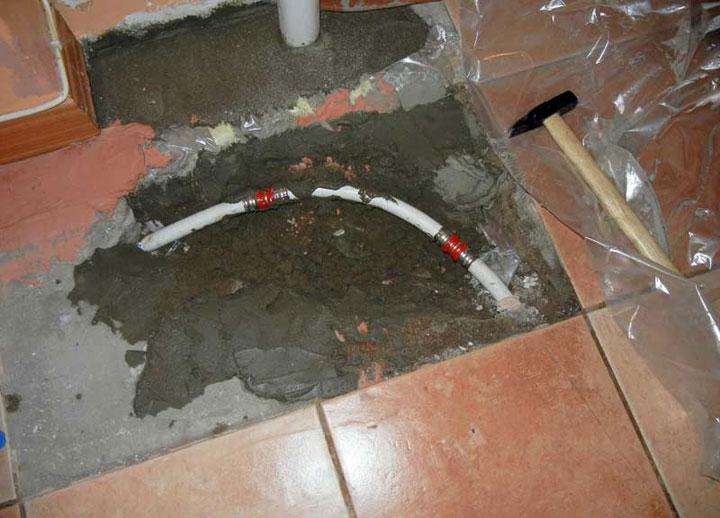 Пример ремонта водяного пола