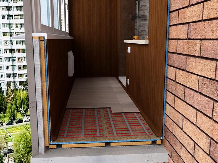 Модель электрического теплого пола на стандартном балконе