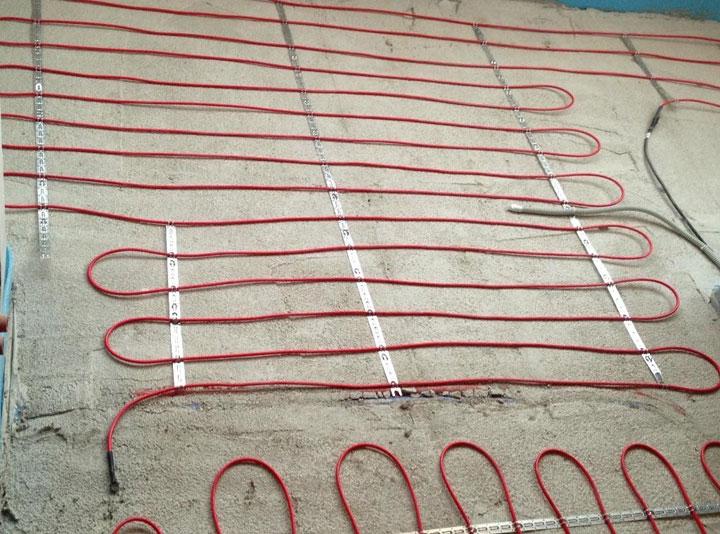 Пример электрического кабельного пола