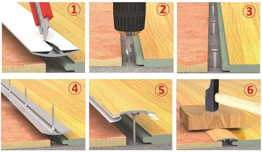 Процесс установки порожка – стык плитки и ламината