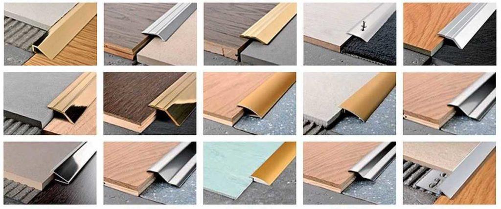 Виды порожков для соединения плитки и ламината
