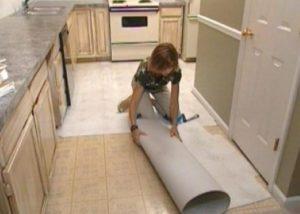 Линолеум на плитку на кухне